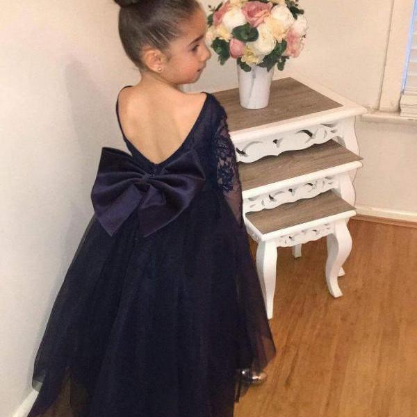 Lovely Dark Navy Tulle Backless Flower Girl Dresses with Long Lace Sleeves