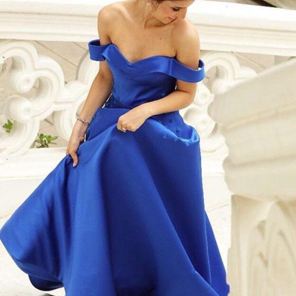 Royal Blue Satin Off Shoulder Long Prom Dresses With Flowers