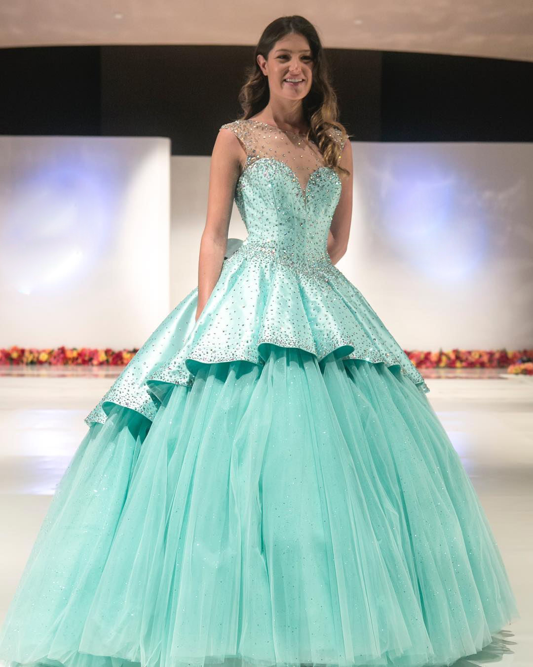 ba84b9139ba Glitter Mint Quinceanera Dresses Beaded Satin Puffy Tulle Sweet 16 Party  Ball Gowns on Luulla